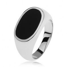 Srebrny pierścionek 925, owal z czarną emalią, lśniące i rozszerzone ramiona