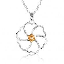 Naszyjnik ze srebra 925 - kontury kwiatu ze środkiem złotego koloru