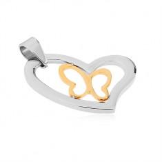Wisiorek ze stali chirurgicznej, asymetryczny zarys serca, kontury motyla w złotym kolorze