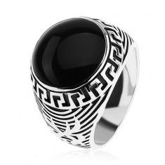Pierścionek ze srebra 925, czarne emaliowane koło, ornament klucz grecki