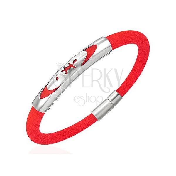 Okrągła, czerwona, gumowa bransoletka - jaszczurka w elipsie