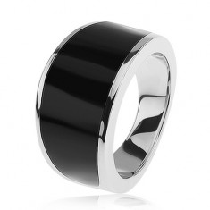 Srebrny pierścionek 925 - czarny emaliowany pas, lśniąca i gładka powierzchnia