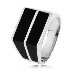 Srebrny pierścionek 925 - dwa poziome pasy czarnego koloru, gładka powierzchnia