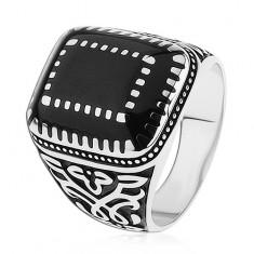 Srebrny pierścionek 925, ornamenty na ramionach, prostokąty z czarną emalią