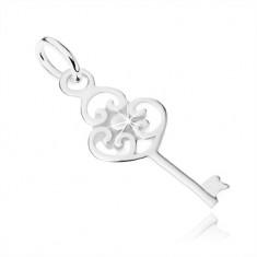 Płaski wisiorek klucz ze srebra 925, główka z trzech serc i kuleczki