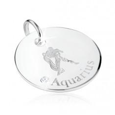 Srebrny wisiorek 925 - znak Zodiaku WODNIK, przezroczysta cyrkonia