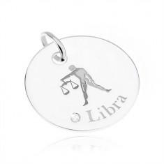 Okrągły i lśniący srebrny wisiorek 925, znak Zodiaku WAGA, przezroczysta cyrkonia