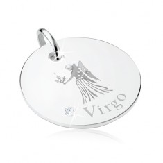 Płaski i okrągły wisiorek, srebro 925, znak Zodiaku PANNA, lśniąca cyrkonia