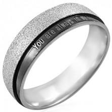 Stalowy pierścionek z napisem - You are always in my heart