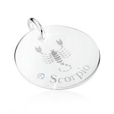 Srebrny wisiorek 925, znak Zodiaku SKORPION, przezroczysta cyrkonia, lustrzany połysk