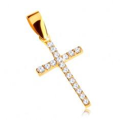 Złoty wisiorek 375 - krzyżyk łaciński ozdobiony przezroczystymi cyrkoniami