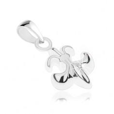 Srebrny wisiorek 925, kwiat lilii - Fleur de Lis, lśniąca powierzchnia