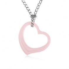Stalowy naszyjnik, różowy ceramiczny zarys serca, łańcuszek srebrnego koloru