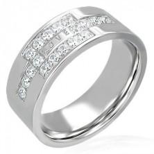 Stalowy pierścionek z cyrkoniami z napisem LOVE