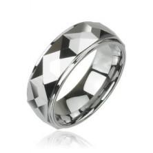 Wolframowy pierścień o oszlifowanej kwadratowej powierzchni, wysoki połysk, 8 mm