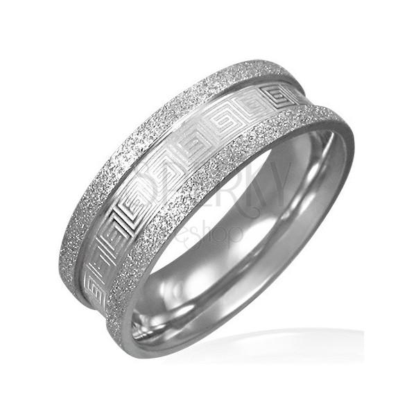Piaskowany stalowy pierścień - grecki motyw