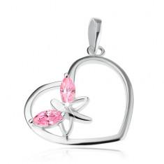 Wisiorek ze srebra 925, zarys serca, motyl - różowe cyrkoniowe skrzydła