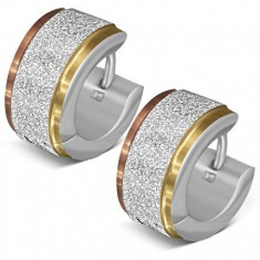 Náušnice z ocele, trblietavý pásik, okraje v zlatom a medenom odtieni