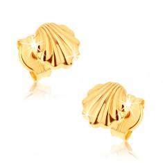 Kolczyki z żółtego złota 9K - lśniące morskie muszle