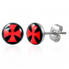 Náušnice z ocele, číra glazúra, červený maltézsky kríž na čiernom podklade
