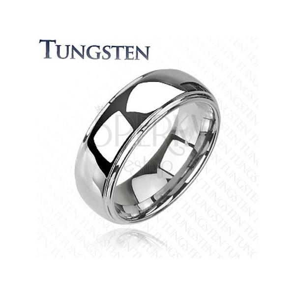 Tungsten - Wolframowy pierścionek błyszczący z wypukłym, środkowym pasem