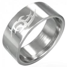 Stalowy pierścień lśniący, matowy symbol Tribal