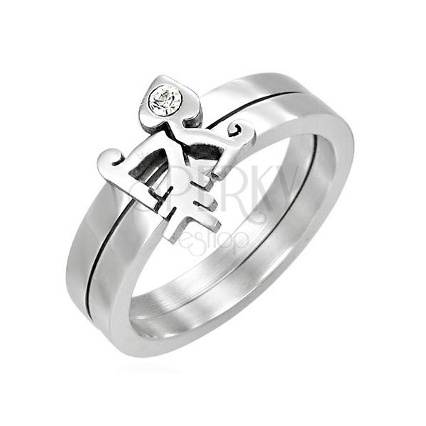 Podwójny pierścionek z cyrkonią - Fishbone