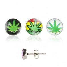 Oceľové náušnice, puzetka, číra glazúra, lístok marihuany s rôznym pozadím