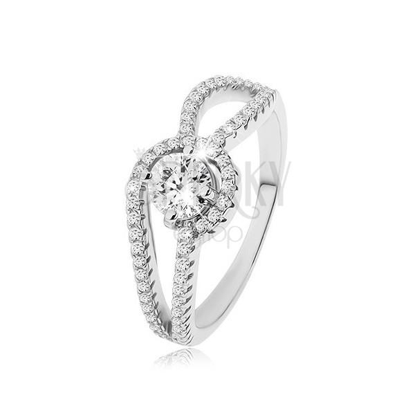 Srebrny pierścionek 925, zdobione zaokrąglone ramiona, okrągła przezroczysta cyrkonia, karbowanie