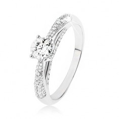 Błyszczący srebrny pierścionek 925, przezroczysty kamyczek, zdobione boki pierścionka