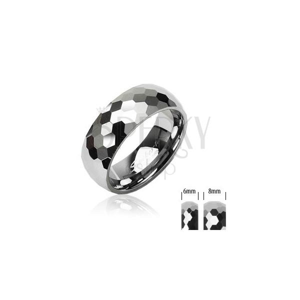 Wolframowa obrączka ze wzorem małych sześciokątów, 8 mm