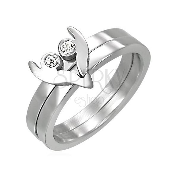 Stalowy pierścionek złożony z dwóch części - serduszko z cyrkoniami