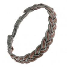 Zaplatana bransoletka na rękę, przeplatające się brązowo-szare sznurki, styl warkoczowy