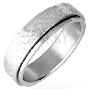 Stalowy pierścionek z obrotowym środkiem  - szachownica