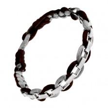 Brązowa lśniąca bransoletka - szaro-brązowe sznurki ze stalowymi oczkami