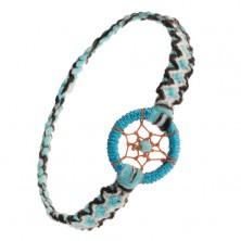 Niebieska bransoletka na rękę, czarno-białe wzory, zawieszka - kółko i kuleczka