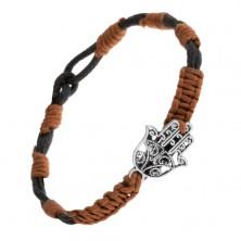 Czarno-brązowa sznurkowa bransoletka z zawieszką w postaci wycinanej ręki Fatimy