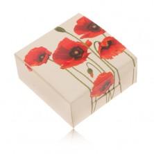 Kremowe tekturowe pudełeczko na pierścionek i kolczyki, czerwony kwiat maku