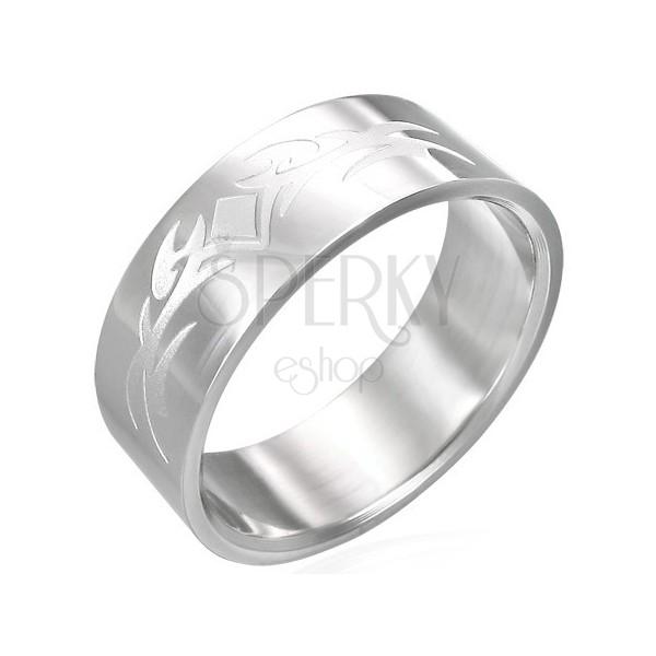 Lśniący stalowy pierścionek z matowym symbolem