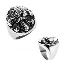 Prsteň z ocele, Fleur de Lis v ovále, strieborná farba, patina