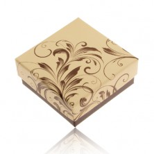 Krabička na prsteň a náušnice, krémovo-hnedá farba, kvetinové ornamenty