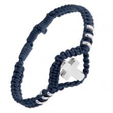 Nastaviteľný pletený náramok tmavomodrej farby, lesklý oceľový kríž a kolieska