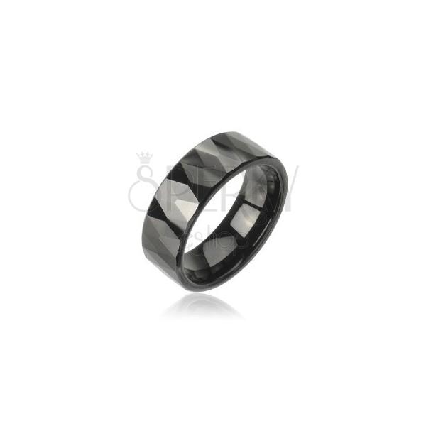 Tungsten obrączka z wzorem oszlifowanych czarnych rombów