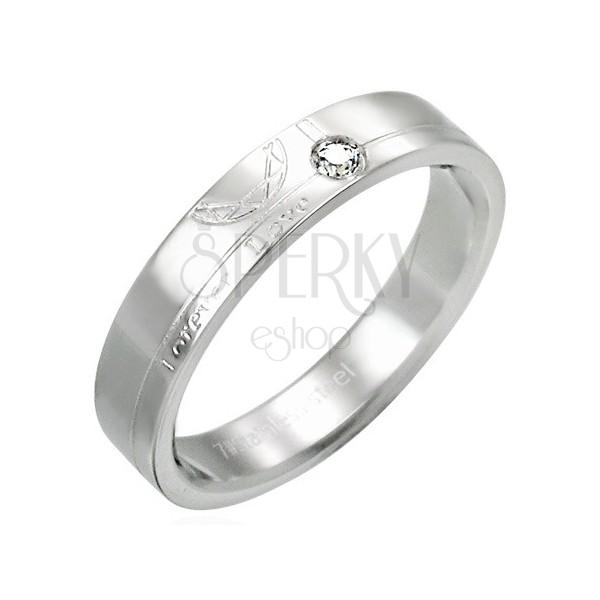 Stalowy pierścionek z cyrkonią - Forever Love