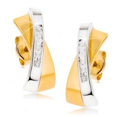 Dwukolorowe złote kolczyki 375 - dwa przecinające się łuczki, przezroczysty cyrkoniowy pas