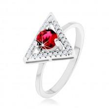 Srebrny pierścionek 925 - cyrkoniowy zarys trójkąta, okrągła czerwona cyrkonia