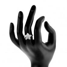 Srebrny pierścionek 925, błyszczący cyrkoniowy przezroczysty kwiat