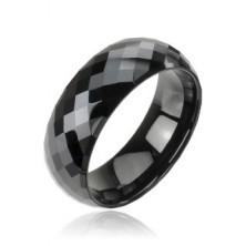 Tungsten pierścionek z wolframu, fasetowany, czarny, wzór disco