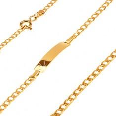 Złota bransoletka 585 z płytką - lśniące drobne owalne ogniwa, 160 mm