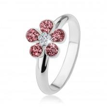 Pierścionek ze srebra 925, błyszczący kwiatek wyłożony różowymi i przezroczystymi cyrkoniami